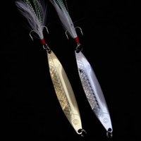 Wholesale Esca Fishing Lures - Free shipping Gold and silver fish-shaped paillette feather paillette lure metal fishing lure esca fishing tackle soft lure