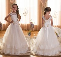 Wholesale Baby Christening Lace Gowns - F22 Lace Ball Gown Tulle Floor Length Baby Girl Birthday Party Christmas Princess Dresses Children Girl Party Dresses Flower Girl Dresses