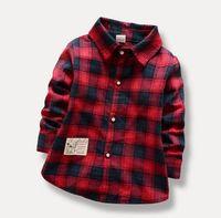 Wholesale Baby Grid - Children Boys Long Sleeve Shirt Baby Kids Autumn Spring Shirt Grid Boy's Shirt 4 P L