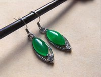 Wholesale Malay Jade Earring - Fine water droplets earrings emerald green color Malay jade exquisite earrings wholesale