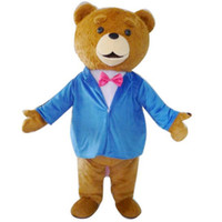 Wholesale Teddy Bears Dresses - 2016 Teddy TED Bear Adult Size Cartoon Mascot Costume Fancy Dress Outfit 3 Model