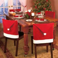 neue mode stuhl abdeckung großhandel-1 stücke 2015 Neue Mode Weihnachtsmann Red Hat Stuhl Back Cover hause Weihnachtsessen Tisch Party Decor Für Weihnachten