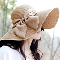 Wholesale Top Hat Head Wear - Women's Summer Wide Brim Straw Hats Bowknot Design Weave Floppy Caps Seaside Beach Head Wear Ornaments HA101