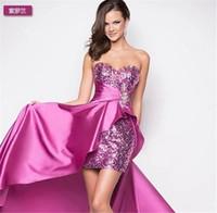 brautkleid leistung großhandel-Brautkleid kurz vor langer Abschnitt der neuen europäischen Stil Bra Toast Kleidung Handel Abendkleid Bankett-Aufführungen