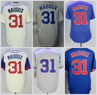 Wholesale Greg Maddux Baseball - Chicago Jersey Throwback 31 Greg Maddux Baseball Jerseys 1942 Cream Vintage Flexbase Cool Base White Pinstripe Blue Pullover Grey