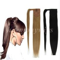 Wholesale Double Drawn Straight Remy Hair - Top quality 100% Human Hair ponytail 20 22inch 100g #2 Darkest Brown Double Drawn Brazilian Malaysian Indian hair extensions More colors