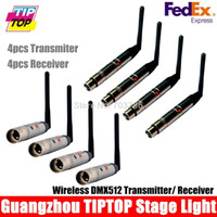 Wholesale Dmx Transmitter Receiver - Wholesale-By fedex 8pcs lot 2.4Ghz Wireless 4pcs DMX512 Transmitters+4pcs DMX Wireless Receiver DMX512 Wireless Controller LED Stage Light