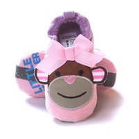 Wholesale Baby Monkey Shoes - Pink Monkey Baby Girl Shoes Soft Sole Cotton Baby Shoes Toddler First Walkers Girls Shoe Bebe Moccasins