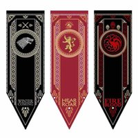 ingrosso bandiere di calcio usa-Game of Thrones House Stark Banner Wolf Torneo Outdoor Banner Flag 46 * 150 Personalizzato America USA Squadra di Calcio College Baseball Bandiera 1 PZ