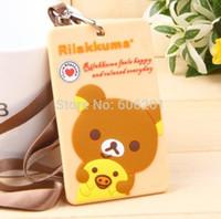Wholesale Card Rilakkuma - Wholesale-3D Brown Rilakkuma Bear San-X Silicone ID Credit Card Holder,Cartoon Bus School Business Card Holders Passcase with Lanyard