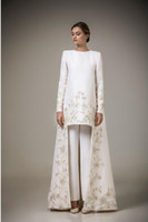 Wholesale Two Pieces Fashion Coat - Vintage Two Pieces Long Sleeve Arabic Robe Muslim Formal Dresses Golden Embroidery Flowers White Stain Only Coat Evening Gowns(Pants free)