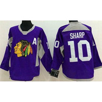 Wholesale Team Sports Apparel Wholesale - Newest #10 Hockey Jerseys Blackhawks Patrick Sharp Purple Sport Apparel Ice Hockey Wears Profession Team Uniforms Athletic Hockey Shirts