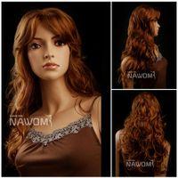 Wholesale Long Kanekalon - auburn long wigs for women long curly women wig Synthetic fiber of 100% Kanekalon 1pc Lot Free Shipping 0729ZL86-27H