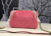 Wholesale Leather Bag Italian - Marmont velvet bag women famous brand shoulder bags quality AAA chain crossbody bag winter heart-shaped fashion Italian luxury women bags 2