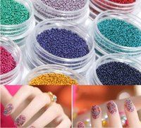 Wholesale Caviar Manicure Beads - 12 Mini Bottles Coloured Nail Art Beads Caviar Nails Art Manicures Pedicures For Stylish Lady's Nails with Retail packaging DHL #6803