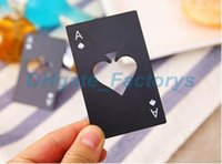 Wholesale steel poker - New Stylish Black Beer Bottle Opener Poker Playing Card Ace of Spades Bar Tool Soda Cap Opener Gift Kitchen Gadgets Tools