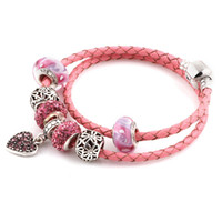 Wholesale Diy Glass Bracelet Beads - Summer Style pink Genuine Leather Bracelet beads Chain Fit For Charms Bracelets DIY Metal Alloy Glass European Big Hole Beads