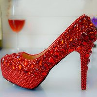 Wholesale Hot High Heels For Prom - Hot Luxury High heel Bridesmaid Bridal Shoes Round Toe Crystal Rhinestones Lady Shoe for Wedding Party Ball Prom Pageant Event