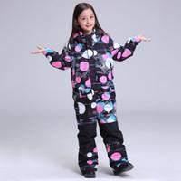 Wholesale girls waterproof windproof pants - Wholesale- 2018 GSOU SNOW Kids Ski Suit Girls Children Windproof Waterproof Snowboard Jacket Pant Outdoor Sport Wear Super Warm Suit Set