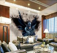 Wholesale Country Living Interiors - 3D Batman Wall Mural Custom Giant Photo Wallpaper Interior decoration Mural Superhero Wallpaper Kid's room Decor Unique desgin Wall art