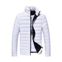 abrigo acolchado rojo al por mayor-Fall-Men sólido de manga larga de algodón acolchado Good Selling Jackets abrigos blanco / azul marino / negro / rojo / azul lago / naranja / gris claro