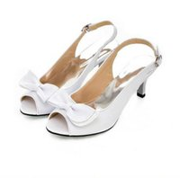 Wholesale sexy bow shoes for sale - Sexy Ankle Wrap Women Sandals Summer Ladies Open Toe Med Heel Bow Shoes Girls Elegant Female Candy Color Leather Sanadal balck white yellow
