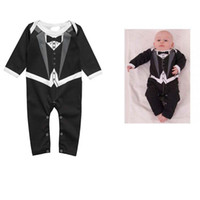 Wholesale Gentleman Romper Long Sleeve - New Long sleeve gentleman Bow tie baby rompers boys jumpsuits infant clothes Baby One-Piece & Romper 6pcs  lot C001