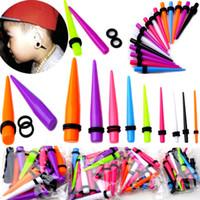 Wholesale Ear Stretchers Kit - Earring Jewelry 108pcs lot Mix Colors Ear Expander Stretcher Taper Kit Plug New Body Jewelry