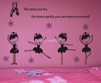 Wholesale Dance Words Wall Decals - Dancing Ballet Girl Wall Decal Sticker Words Wall Quote for Children Kids Room Dancing Room Free Shipping