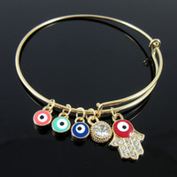 Wholesale Tennis Wristbands Wholesale - Gold Crystal Hamsa hand Evil Eye Bracelets adjust Bangle Cuffs wristband for Women Fashion jewelry 160131