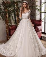 Wholesale Wedding Dresses Bow Belts - C.V Half Sleeve Beaded Belt Vintage Bridal Wedding dress 2017 V neck Lace Appliques Embroidery Bow Sashes Princess Wedding Gowns W0054