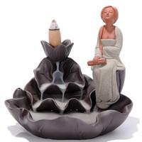 aromaterapia incienso humo al por mayor-Venta al por mayor - Nuevo estilo de cerámica de humo de reflujo quemador de incienso Lotus Pool Fancies de Men of Letters Beautiful Woman Aromatherapy Censer