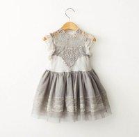 Wholesale Grey Kids Dress - Kids Dresses For Girls Lace Girls Sundress Kids Clothes Grey princess party Dress 3-8Y 504777