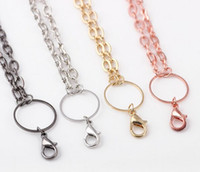Wholesale Necklaces Glass Factory - 10PCS lot (4Colors For Choise)Factory Price Infinite Link Rolo Necklace Set Chains+Lobster Clasps For Glass Living Floating Locket
