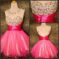 Wholesale Tulle Sparkle Homecoming Dress - Sparkle Crystal Beads Short Mini Prom Party Dresses Red Organza Backless Cheap Graduation Homecoming Dresses Free Shipping Cocktail Gowns
