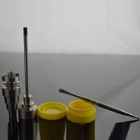 contenedor de aceite de silicona al por mayor-Universal Domeless Titanium Nail 1x Titanium Nail Carb Cap 1x Herramienta Dabber 1x Silicone Jar Dab Container Oil Concentrate Kit Bong Tool Set