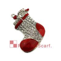 Wholesale Enamel Boot Charm - Fashion Design Jewelry Pendant Scarf Accessories Rhinestone Christmas Santa Claus Enamel Boot Necklace Scarf Pendant, Free Shipping, AC0423