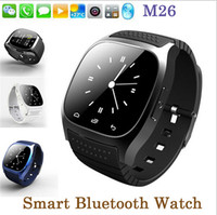 Wholesale pedometer bluetooth - Waterproof Smartwatches M26 Bluetooth Smart Watch With LED Alitmeter Music Player Pedometer For Apple IOS Android Smart Phone