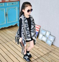 Wholesale Striped Jacket Girls - Kids Print floral loose Poncho children's winter spring knit jackets baby girl outwear 5p l free shipping