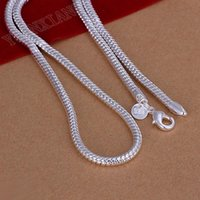 Wholesale Sterling Silver Bone - Free shipping, wholesale fashion jewelry, 925 sterling silver 4mm, 20inch snake bone necklace
