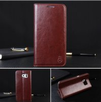 Wholesale Galaxy S4 Cover Genuine - New Genuine Leather Case For Samsung Galaxy Note 4 NOTE 5 Leather Case Wallet Case Stand Cover Pouch with Card Slot For S7 S6 Edge S5 S4 S3