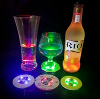 LED Coaster Flashing Light Bulb Bottle Cup Mat 4 LED Light Up para Club Bar Home Party OOA3503