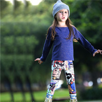 Wholesale retail kids clothes piece resale online - Pettigirl Retail Spring Girls Clothes Sets With Solid Top And Cartoon Pants Cotton Kids Girl Outfits For Children Clothing CS80813 F