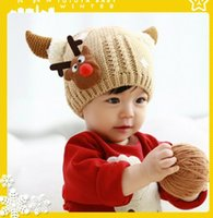 Wholesale Cute Girl 15 Age - Children Ear Hats For 2015 Winter New Arrival Baby Girls Wollen Hats Cute Boys Deer Caps Fit 1-5 Age 15 Pcs lot SS406