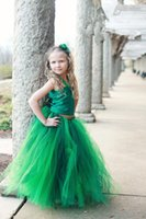 Wholesale Emerald Green Ribbon - 2015 Cute Emerald Green Two Pieces Flower Girl Wedding Tulle Ribbon Tutu Satin Fabric Lace-Up Special Occasions party Dress