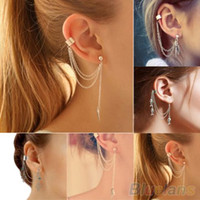 Wholesale Chain Earring Cuffs Wraps - 1PC Punk Silver Tassels Chain Leaf Fish Cross Charms Metallic Ear Wrap ear cuff earrings 1Q3J