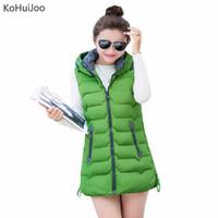 Wholesale Korea Winter Woman Jacket - KoHuiJoo L-4XL 2017 Autumn Winter Women Padded Vest Korea Slim Hooded Zipper Long Down Jacket Sleevless Warm Waistcoat Plus Size