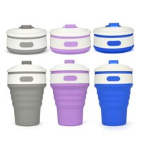 Wholesale 12 Oz Bottle Wholesale - 12 oz Collapsible Coffee Cups Portable Silicone mug water bottle fashion coffee mugs with Insulated cup sleeve 6 colors