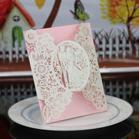 Wholesale Cut Out Bride Groom - 10 set Elegant Laser Cut Hollow out Bride and Groom Heart Wedding Invitation Cards Printable Wedding Favors Invitations Wholesale