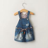 Wholesale Girls Overalls Skirt Children - Spring Summer Children Dress Girls Denim Brace Skirt Kids Overalls Jeans Applique Suspender Skirt Children Denim Dresses With Belt